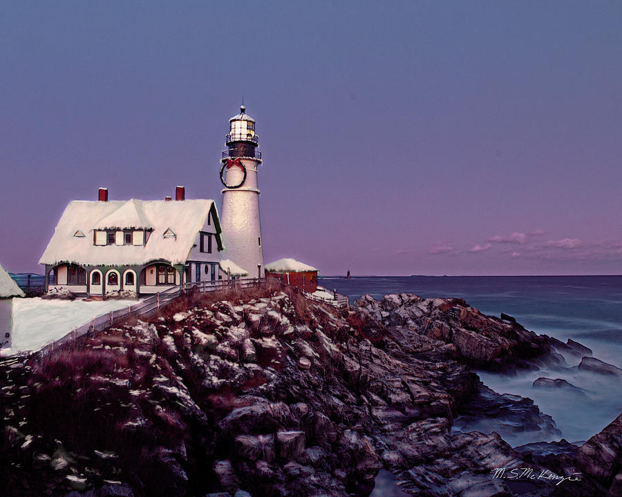 Lighthouse Painting - A New England Christmas Different Format by M S McKenzie