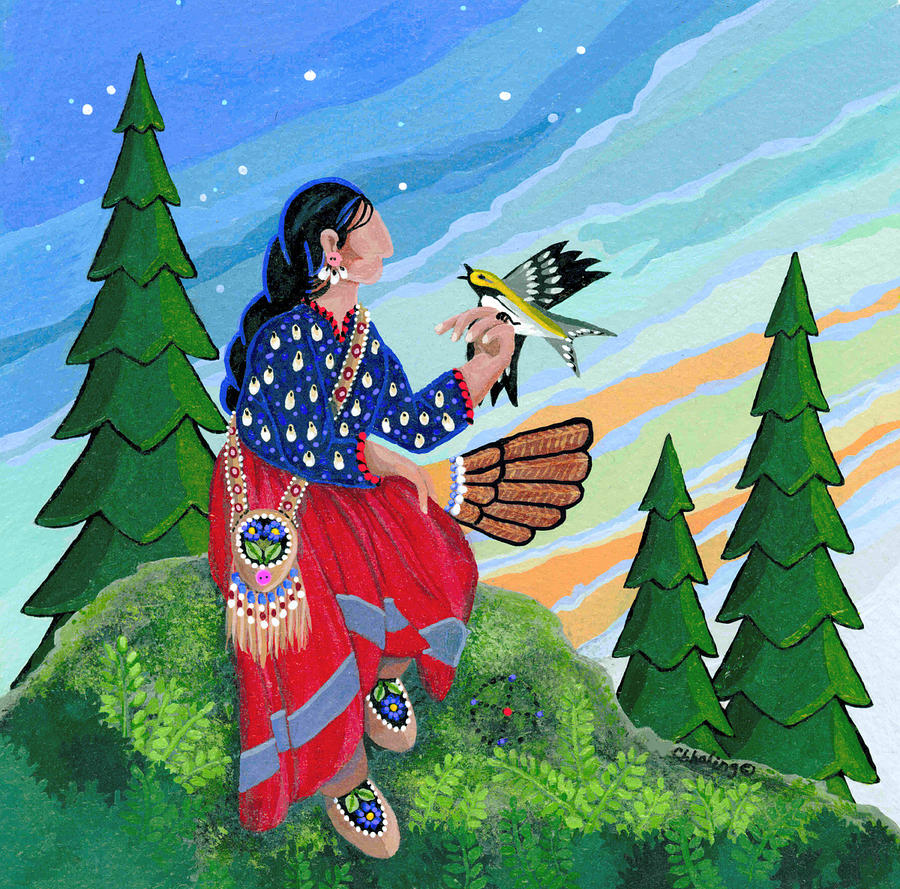 Native American Women Painting - A New Song Arrives by Chholing Taha