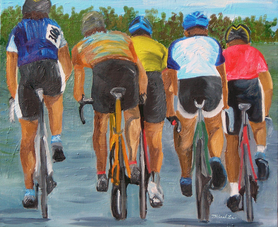 Cycling Painting - A Nice Day For  A Ride by Michael Lee