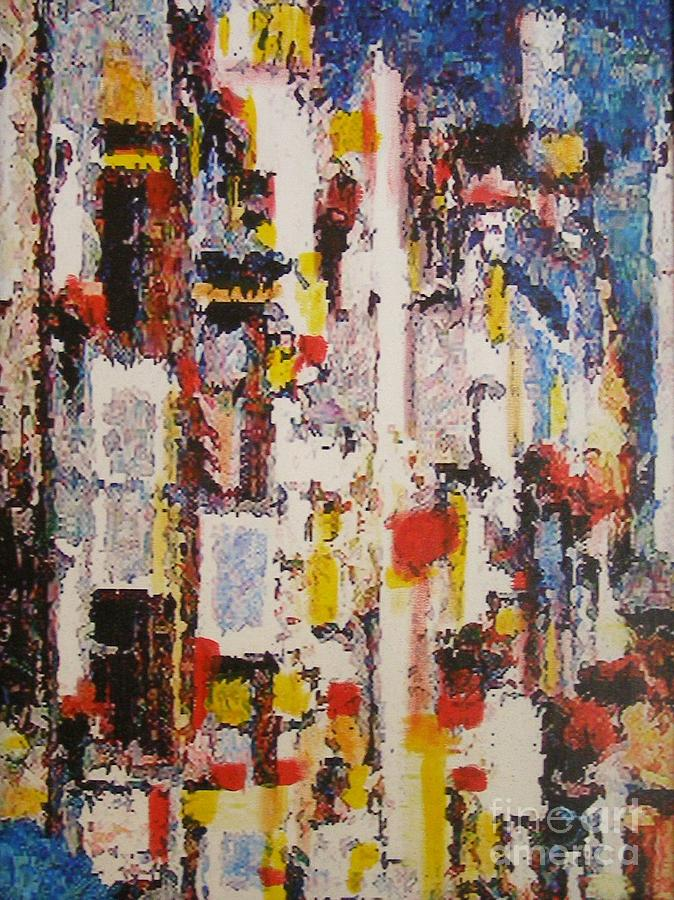 Abstract Cityscape Painting - A Night In Tokyo by Don Phillips