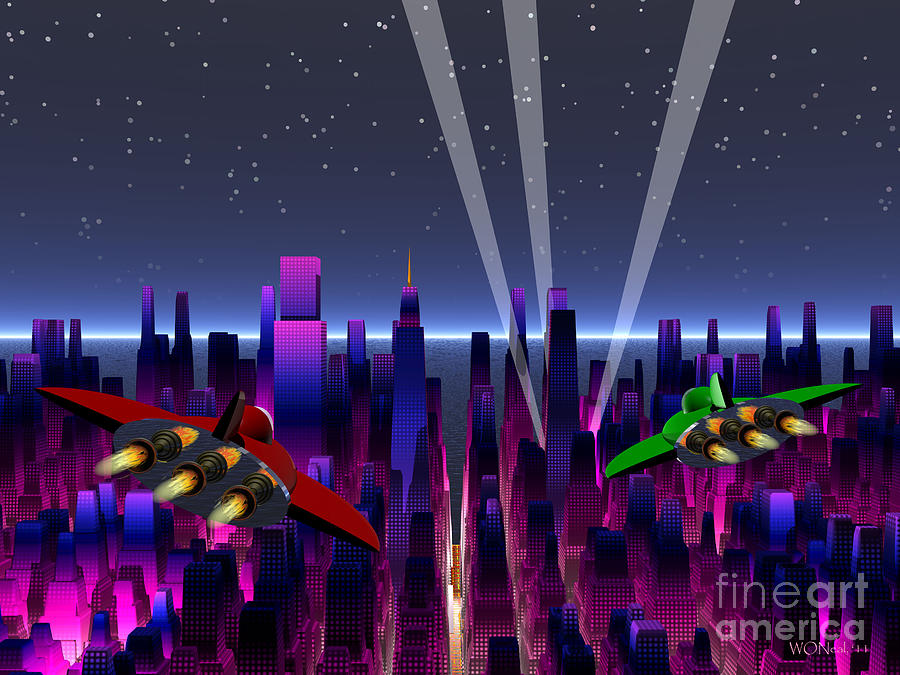 Science Fiction Digital Art - A Night On The Town by Walter Oliver Neal