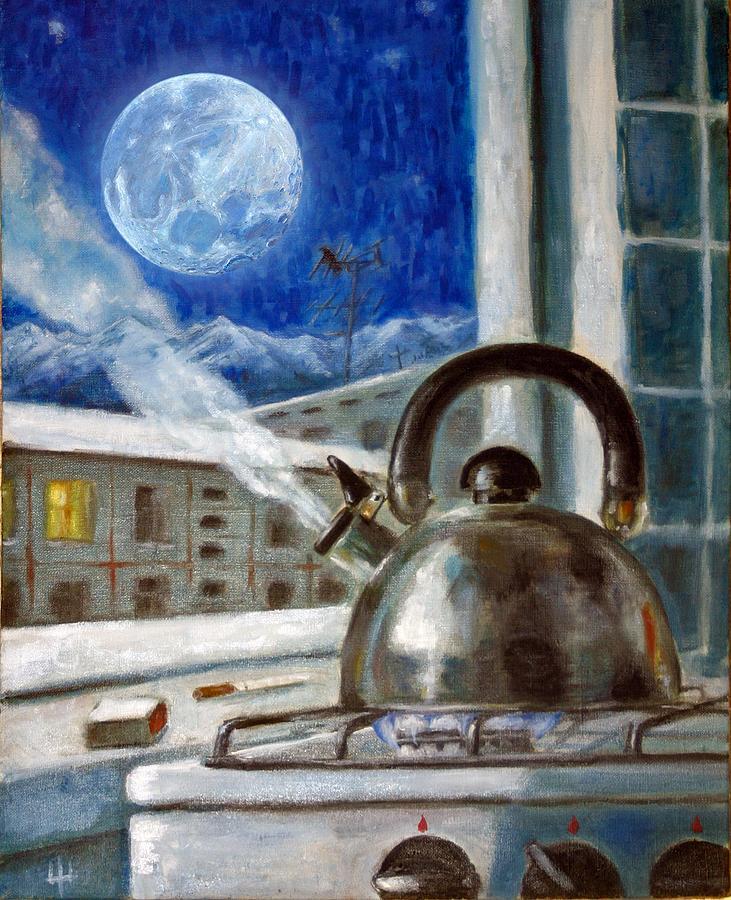 Night Painting - A Night Tea by Yevgeniy Dubkov