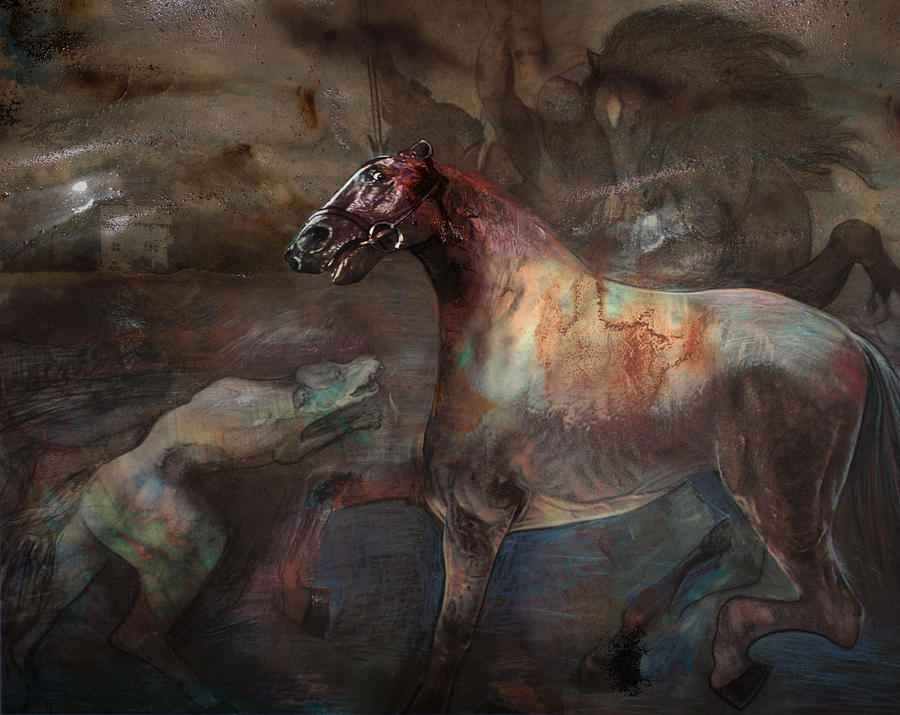 Horse Digital Art - A Nightmare by Henriette Tuer lund