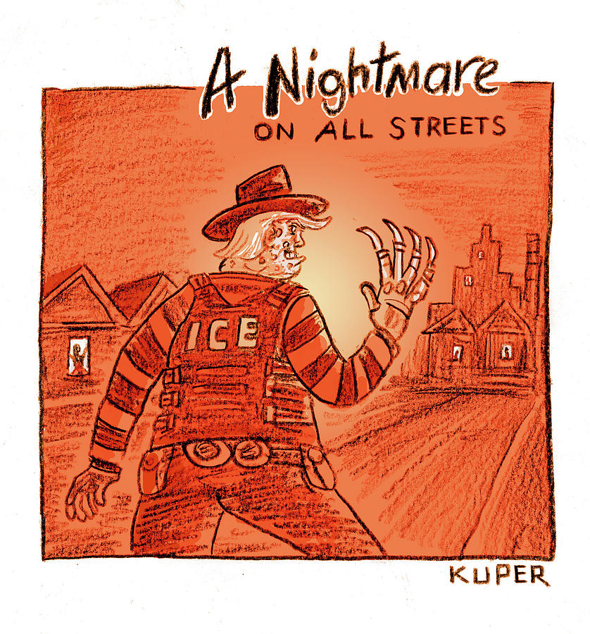 A Nightmare on All Streets Drawing by Peter Kuper