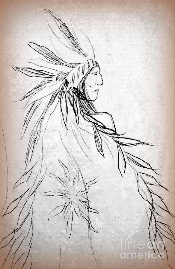 Native American Indians Drawing - A Noble People by Georgias Art Brush