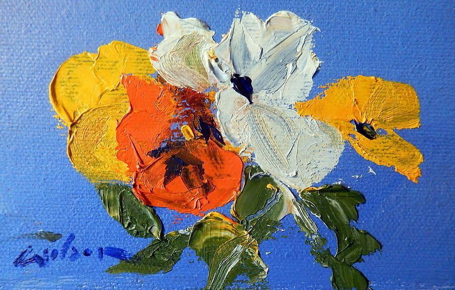 A Nudge Of Pansies Painting by Ron Wilson