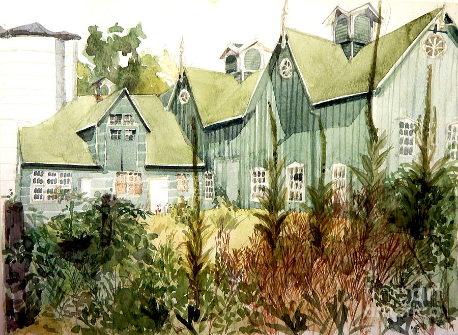 Watercolor of an old wooden barn painted green with silo in the sun by Greta Corens