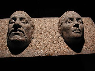 Portraiture Life Size  High Relief Red Granite Sculpture - A Painter And His Wife by Jerry Williams