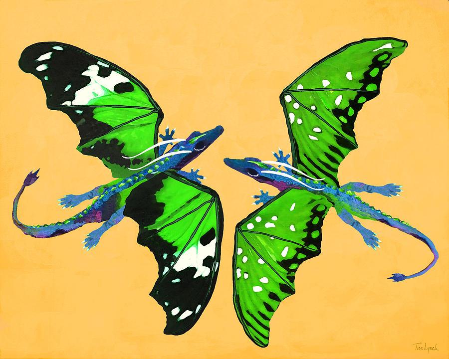 Dragons Painting - A Pair Of Dragons by Tina Lynch