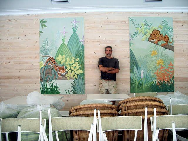 a pair of exotic murals  Pool House restaurant Painting by Scott K Wimer