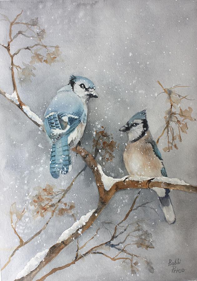 Christmas Painting - A Pair Of Jays by Bobbi Price