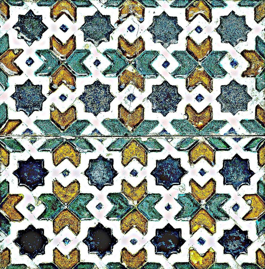 a pair of spanish cuerda seca tiles spain circa 1500 by adam asar no 21d painting by adam asar fine art america