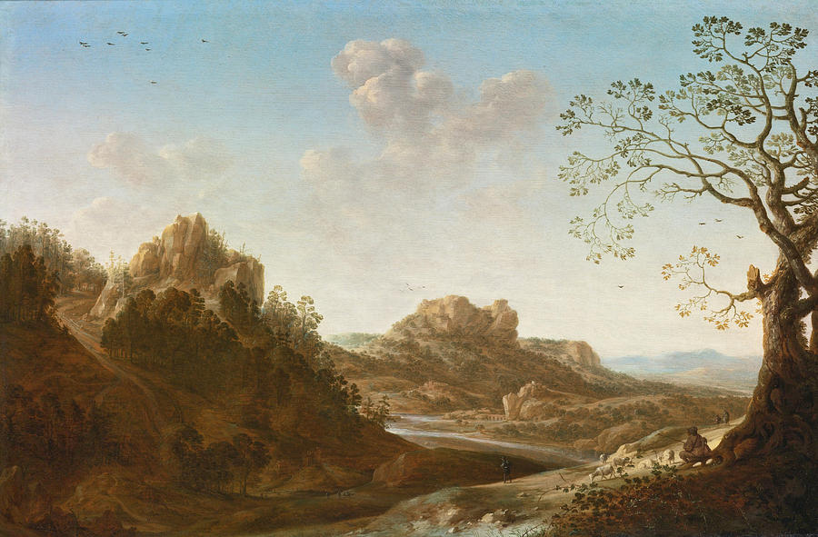 Herman Saftleven Painting - A Panoramic River Valley Landscape With Figures And Village Below by Herman Saftleven