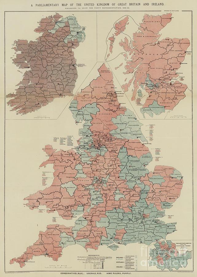 Map Of Ireland United Kingdom.A Parliamentary Map Of The United Kingdom Of Great Britain And Ireland By English School