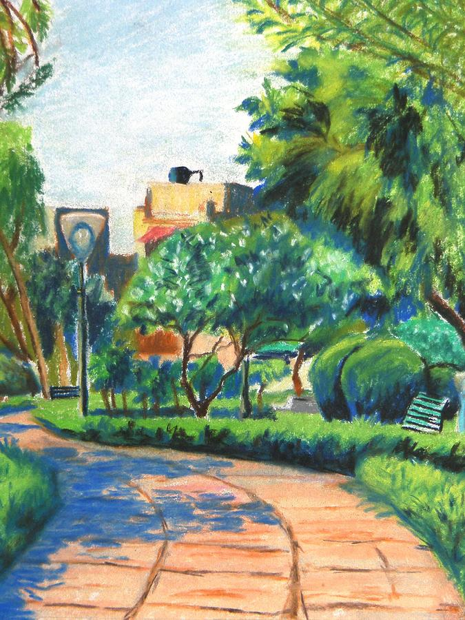 Landscape Painting - A Path In A Neighbourhood Park by Naveen Wagh