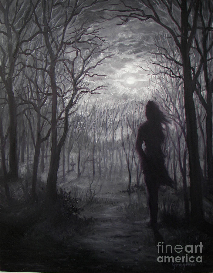 Night Scape Painting - A Path Through Darkness by Gene Gregorio