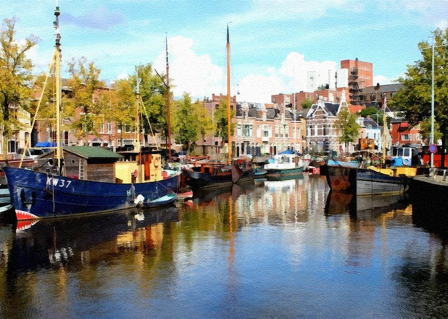 Canal Digital Art - A Peaceful Canal Scene - The Netherlands L B by Gert J Rheeders