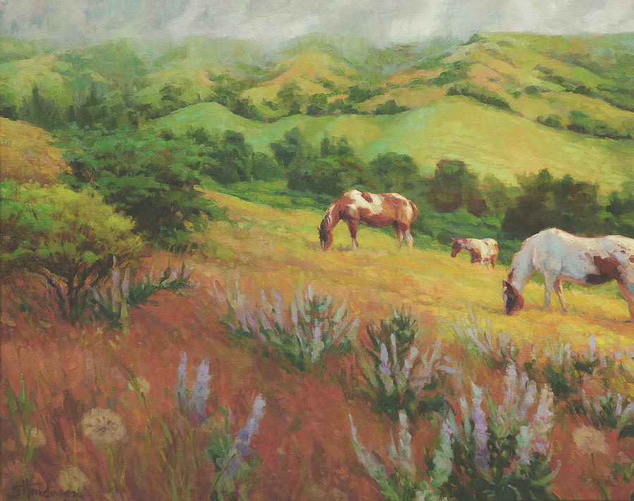 Horse Painting - A Peaceful Nibble by Steve Henderson