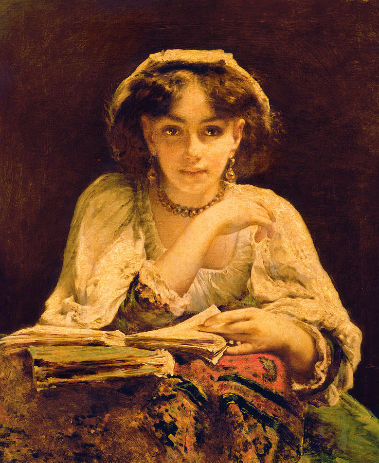 Reading; Girl; Female; Woman; Book; Thinking; Thoughtful; Staring; Wistful; Frilly Blouse; Dreaming Painting - A Pensive Moment by John Ballantyne