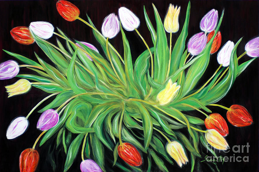 A Perfect Gift of Colorful Tulips by Oksana Semenchenko