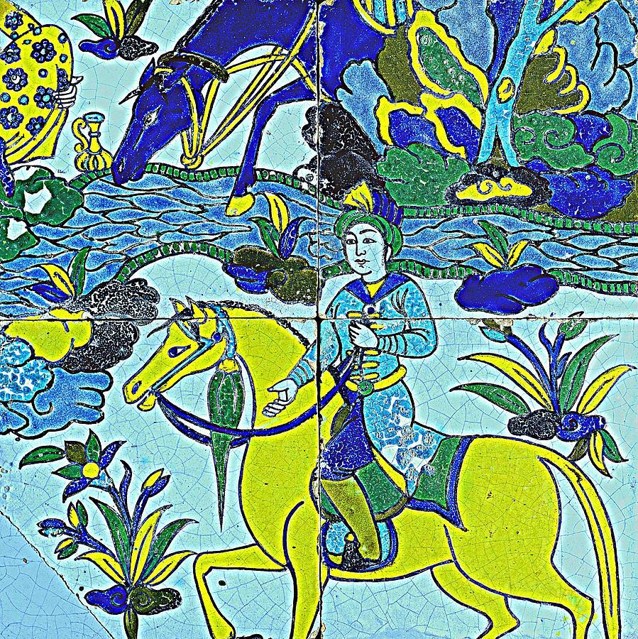 A Persian Polychrome Cuerda Seca Tile Panel , Safavid, Circa Late ...