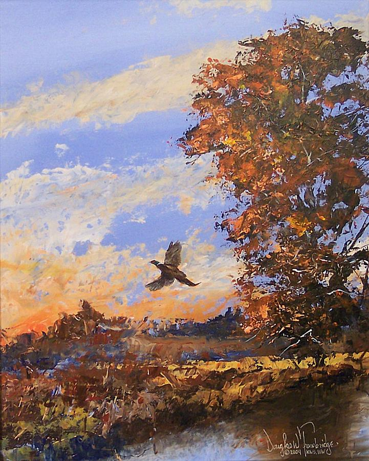 Wildlife Painting - A Pheasent At Sundown by Douglas Trowbridge