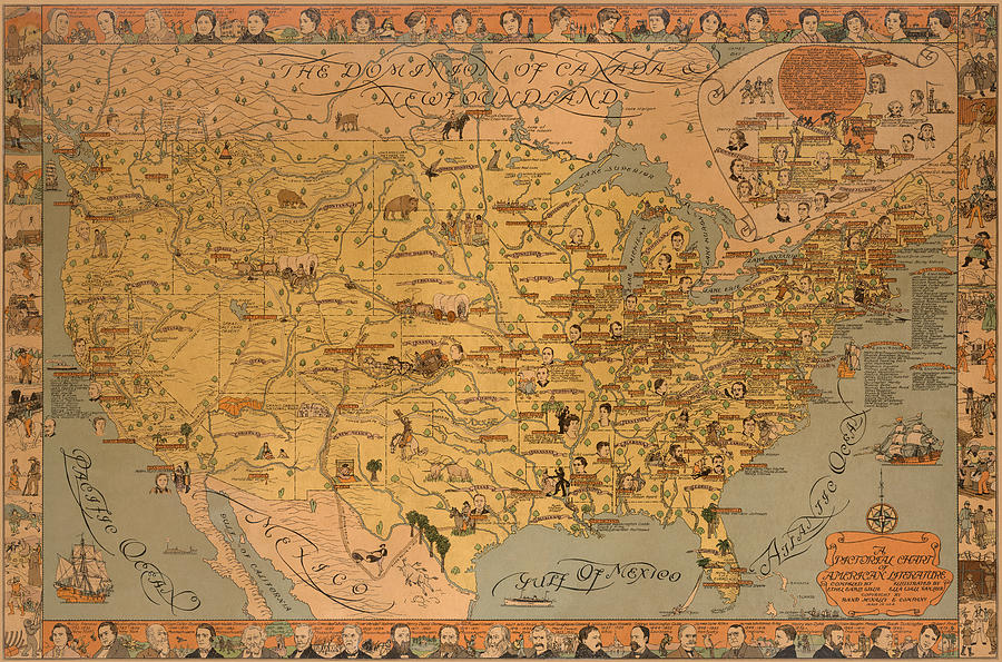 A Pictorial Chart Of American Literature - Pictorial Map - North America - Literature Drawing