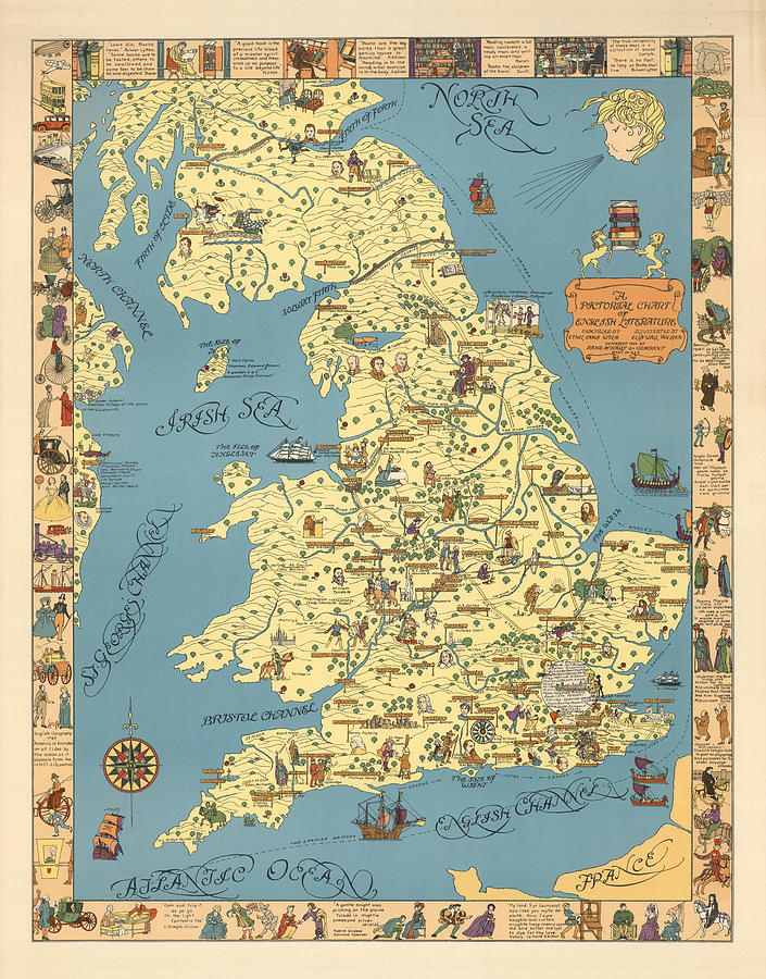A Pictorial Chart Of English Literature - Illustrated Map - Pictorial Map - English Literature Drawing