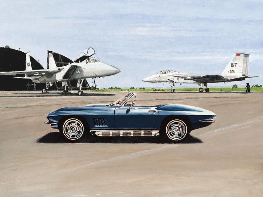 Corvette Painting - A Pilots Dream by Richard Herron