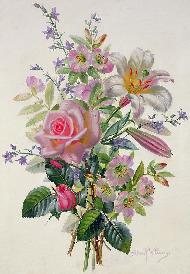 A Pink Bouquet Painting By Albert Williams