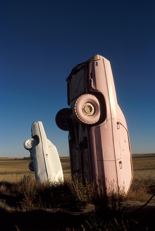 Carhenge Photograph - A Pink Caddilac In The Morning by Jerry McElroy