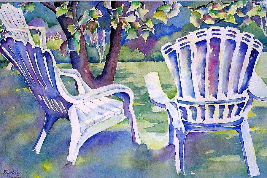 Adirondack Chairs. White Lawn Chairs Painting - A Place In The Shade by Barbara Jung