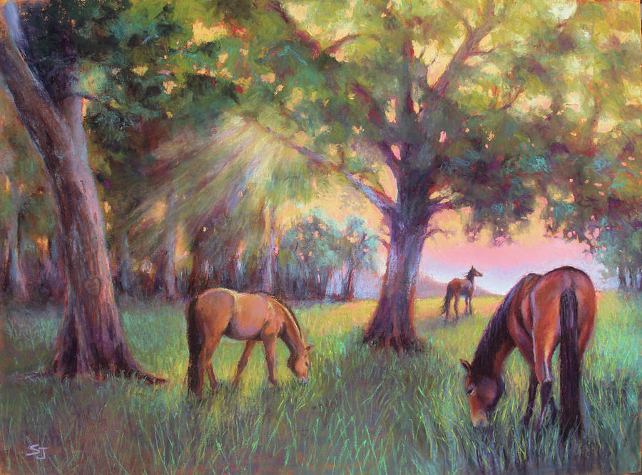 Horses Painting - A Place Of Healing by Susan Jenkins