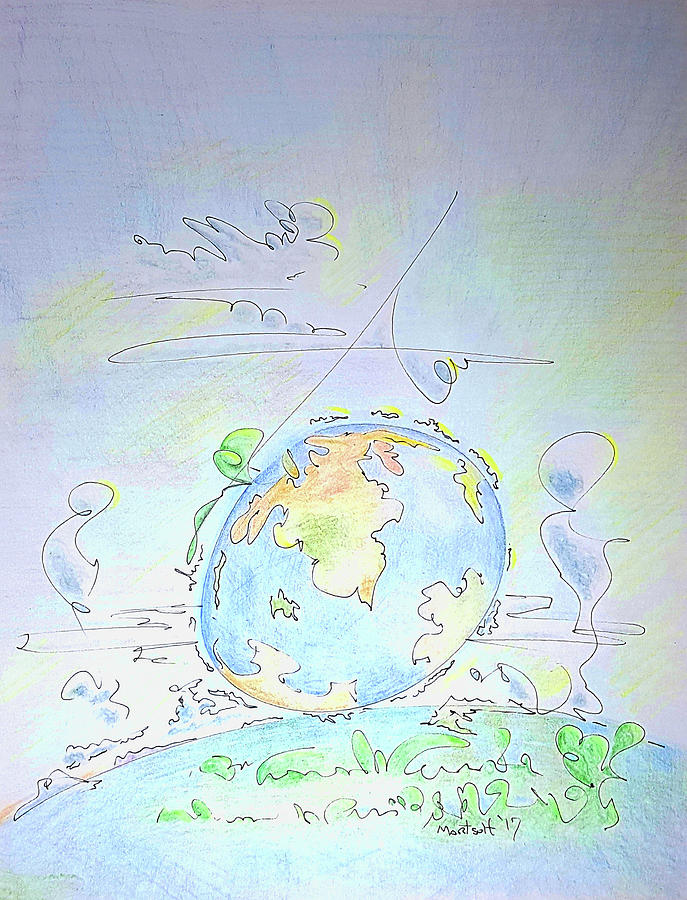 Fantasy Drawing - A Planet Remembered by Dave Martsolf