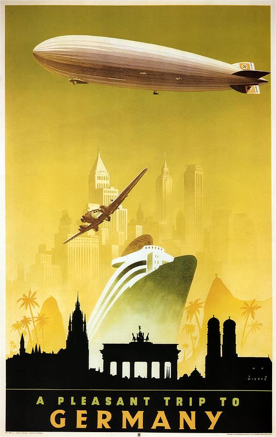 Germany Photograph - A Pleasant Trip To Germany - Airship, Aircraft, Ship - Retro Travel Poster - Vintage Poster by Studio Grafiikka