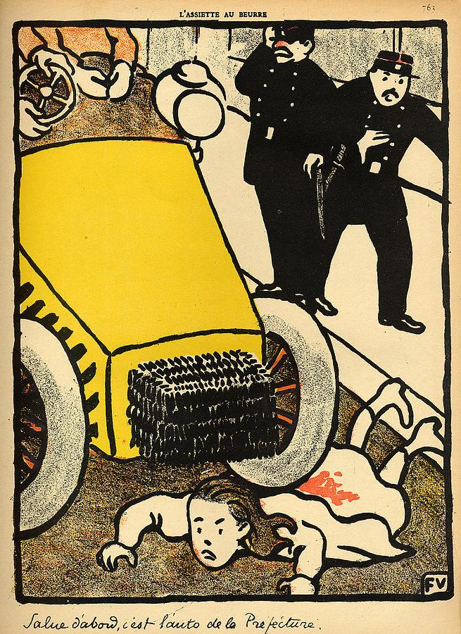 A Police Car Runs Over A Little Girl Painting by Felix Edouard Vallotton