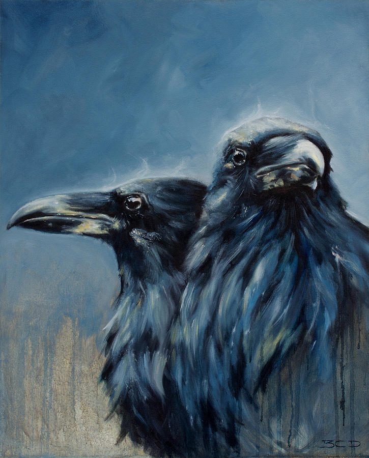 a portrait of huginn and muninn painting by b c dilworth