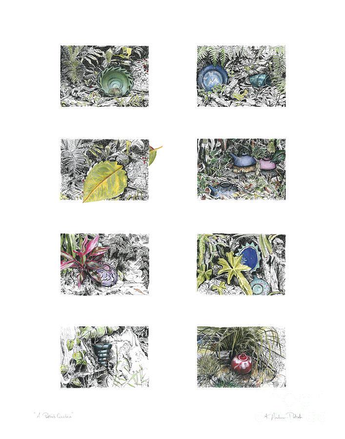 Tropical Drawing - A Potters Garden by Kerryn Madsen-Pietsch