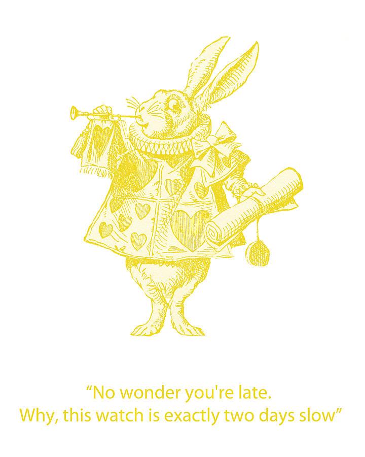 White Rabbit Digital Art - A Punctual Rabbit by Georgia Fowler