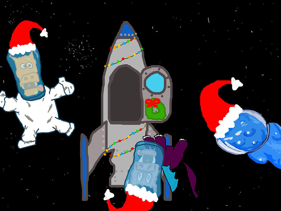 Christmas Digital Art - A Puppydragon Christmas In Space by Jera Sky