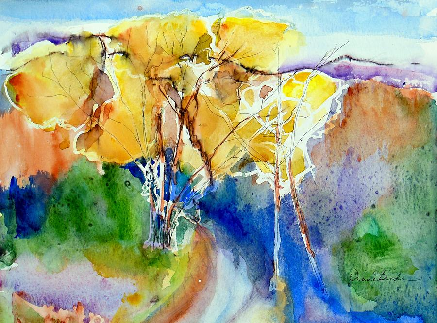 Arroyo Painting - A quiet arroyo at Ghost Ranch, New Mexico by Diane Binder