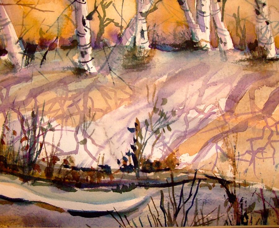 Snow Painting - A Quiet Light by Mindy Newman