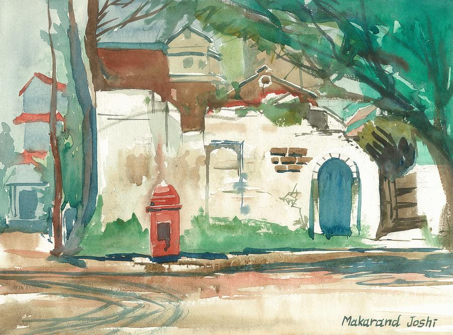 Home Decor Painting - A Quiet Wall In A Town With A Colonial Postal Box by Makarand Joshi