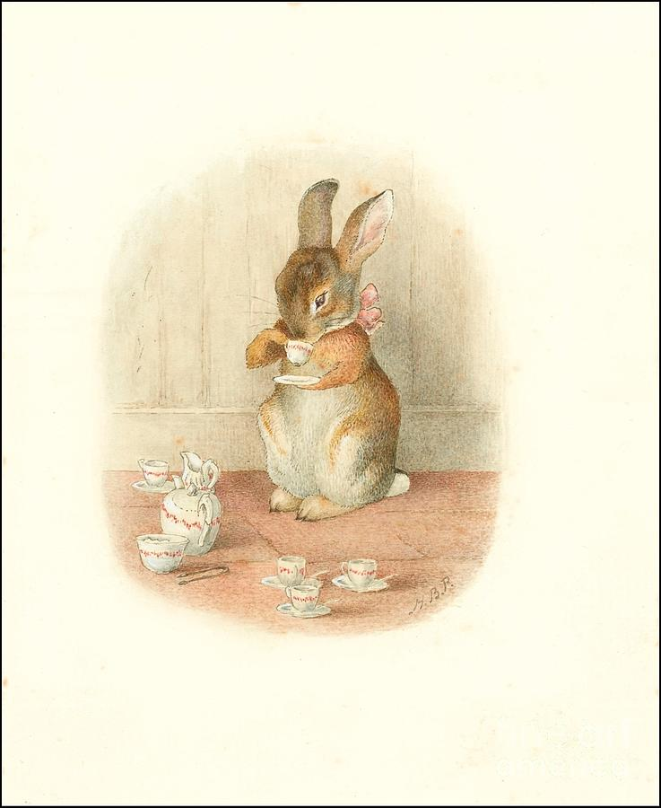 A Rabbits Tea Party Painting by Beatrix Potter