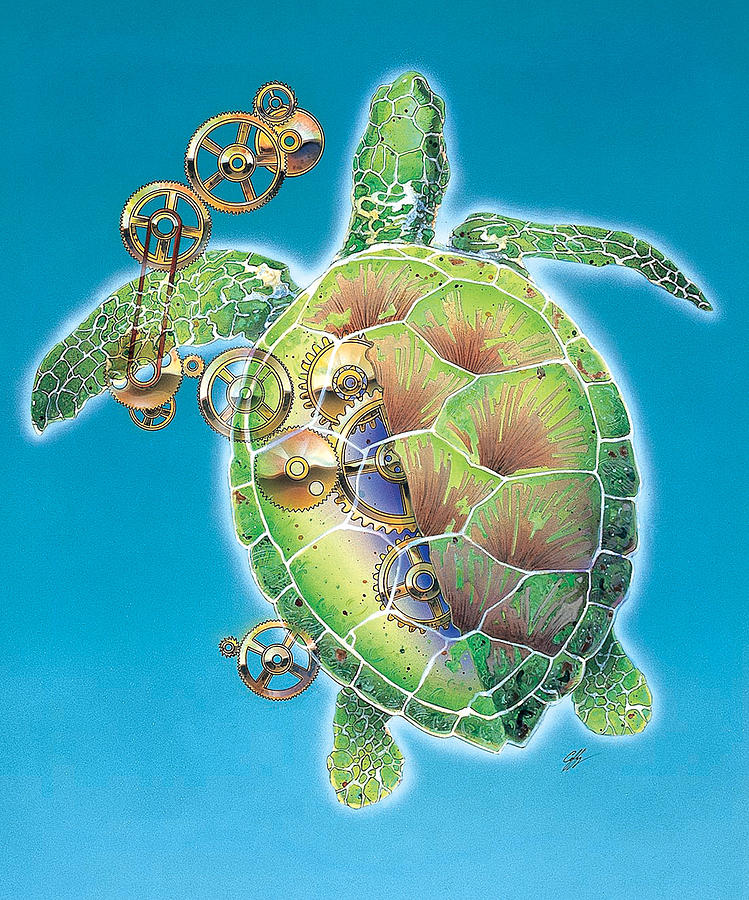 Sea Turtle Painting - A Race Against Time by Durwood Coffey