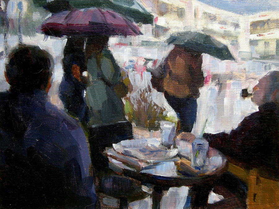 Urban Painting - A Rainy Day At Starbucks by Merle Keller
