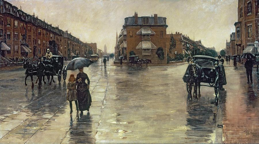 Rainy Painting - A Rainy Day In Boston by Childe Hassam