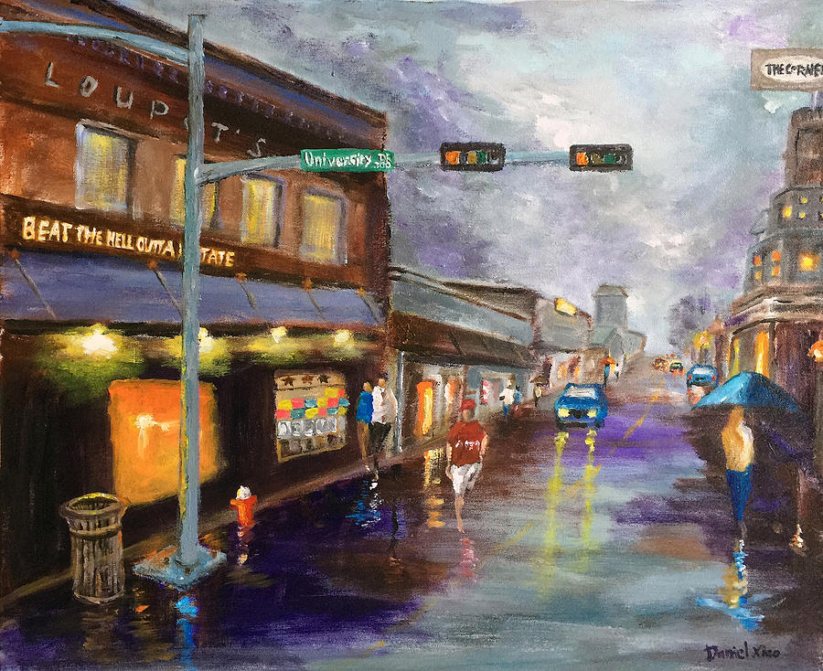 Rainy Night At Northgate Painting By Daniel Xiao