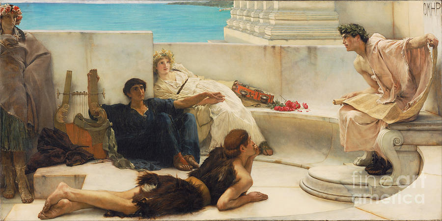 Sir Lawrence Alma-tadema Painting - A Reading From Homer by Celestial Images