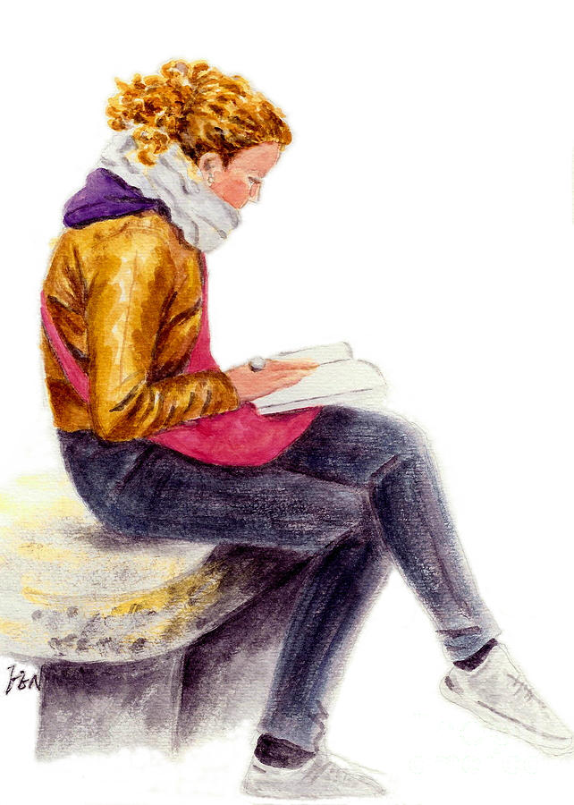 Italy Painting - A Reading Girl In Milan by Jingfen Hwu